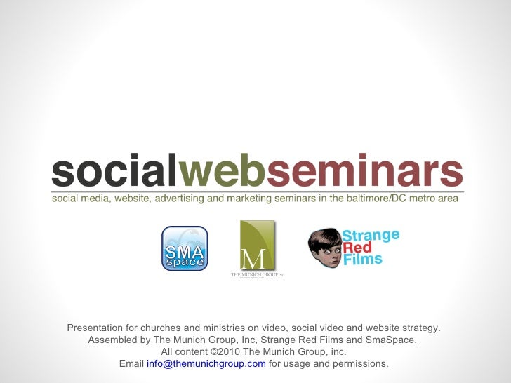 Social Media, Video and Website Strategies for Churches and Ministries