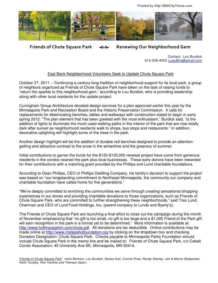 Chute Square Park Press Release 102711
