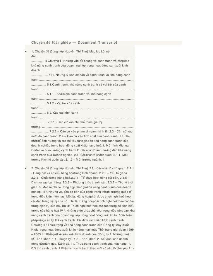 Chuyên đề tố t nghiệ p — Document Transcript•   1. Chuyên đề tốt nghiệp Nguyễn Thị Thuỷ Mục lục Lời nói    đầu ..............