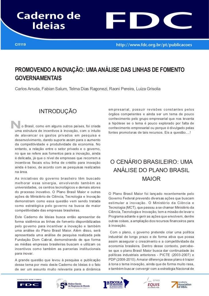 CI1119      Gestão Estratégica do Suprimento e o Impacto no      Desempenho das       Empresas BrasileirasPromovendo a ino...