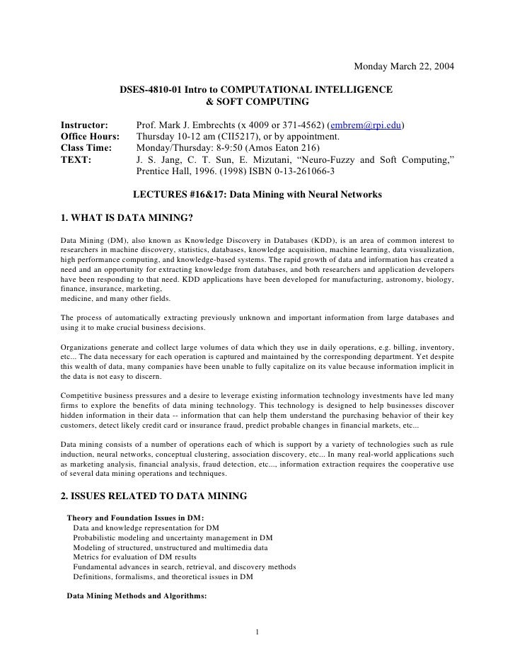 Monday March 22, 2004                   DSES-4810-01 Intro to COMPUTATIONAL INTELLIGENCE                                  ...