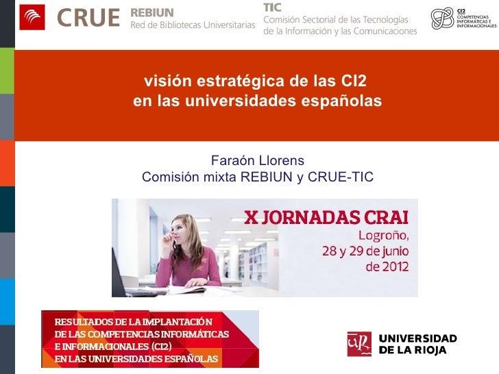 visión estratégica de las competencias informacionales e informáticas (CI2) en las universidades españolas