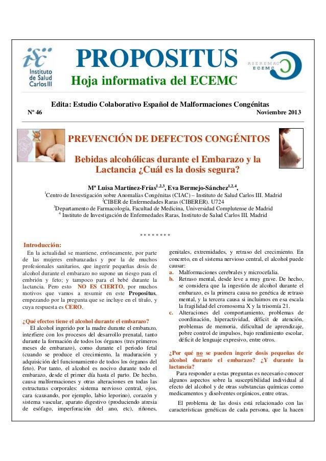 PROPOSITUS  Hoja informativa del ECEMC  Edita: Estudio Colaborativo Español de Malformaciones Congénitas Nº 46  Noviembre ...