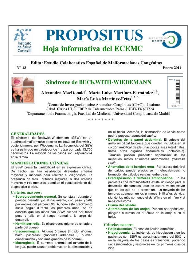 PROPOSITUS  Hoja informativa del ECEMC  Edita: Estudio Colaborativo Español de Malformaciones Congénitas Nº 48  Enero 2014...