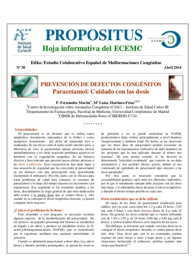 Edita: Estudio Colaborativo Español de Malformaciones Congénitas Nº 50 Abril 2014 PREVENCIÓN DE DEFECTOS CONGÉNITOS Parace...
