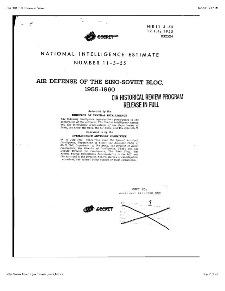 CIA's Estimate of the Air Defense Of The Sino Soviet Bloc, 1950-1960 NIE 11-5-55