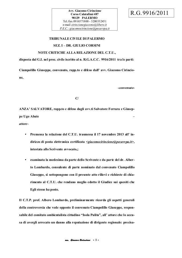 acc. Giacomo Cirincione - 1 - TRIBUNALE CIVILE DI PALERMO SEZ. I – DR. GIULIO CORSINI NOTE CRITICHE ALLA RELAZIONE DEL C.T...