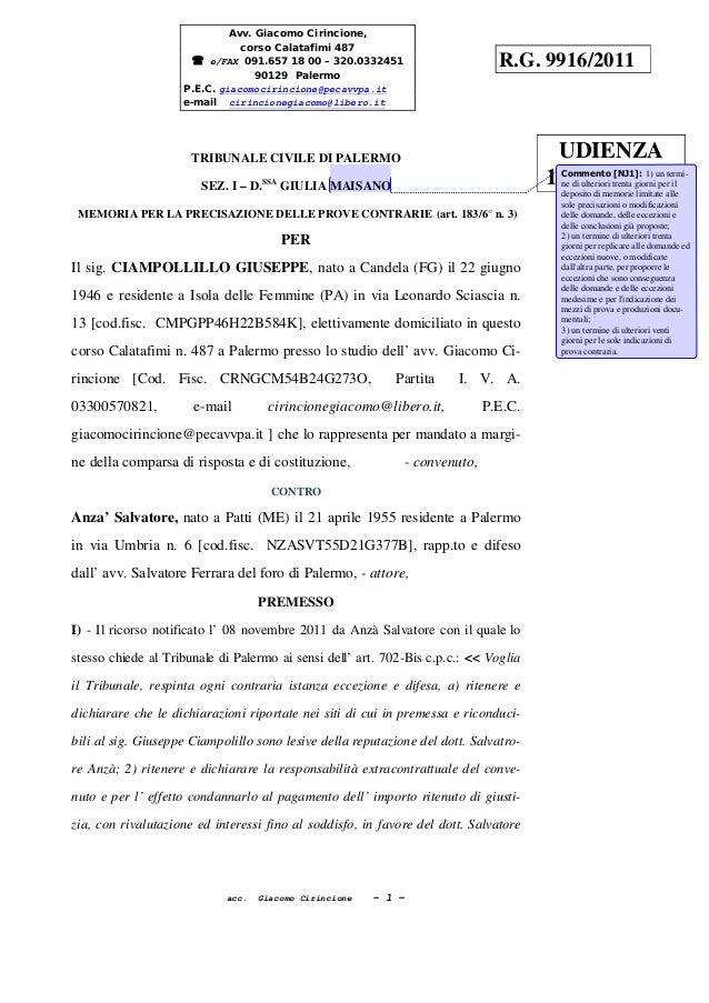 acc. Giacomo Cirincione - 1 - TRIBUNALE CIVILE DI PALERMO SEZ. I – D.SSA GIULIA MAISANO MEMORIA PER LA PRECISAZIONE DELLE ...