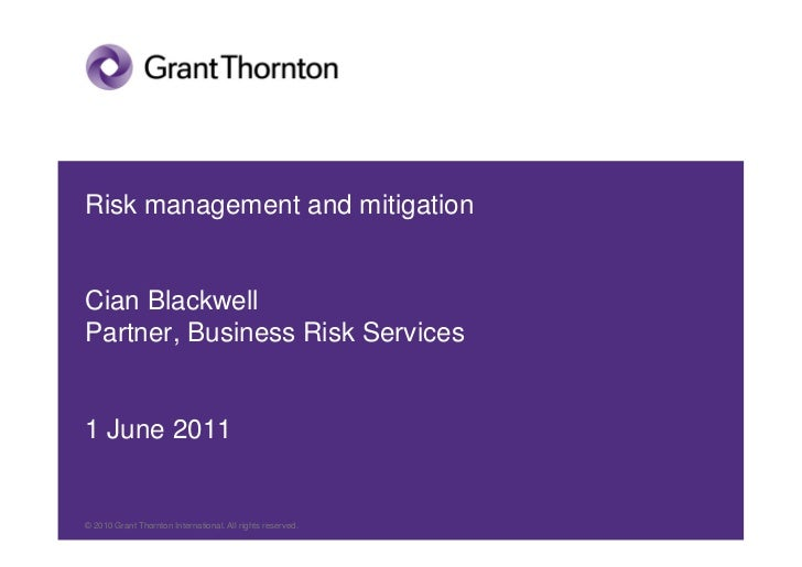 Cian Blackwell - Risk management and mitigation 2011