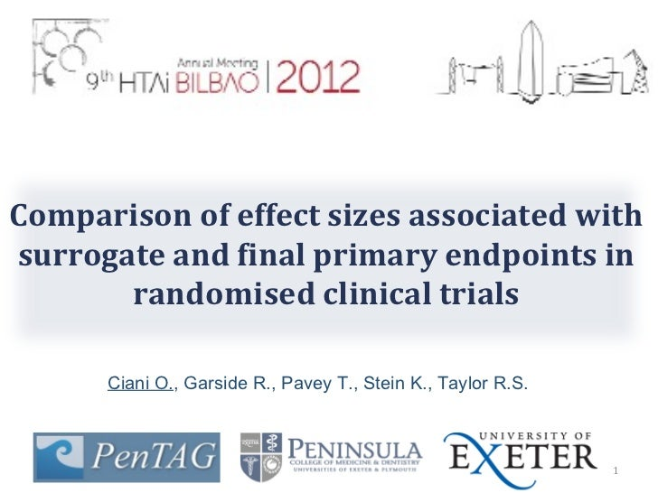 Comparison of effect sizes associated with surrogate and final primary endpoints in randomised clinical trials. Cianti.