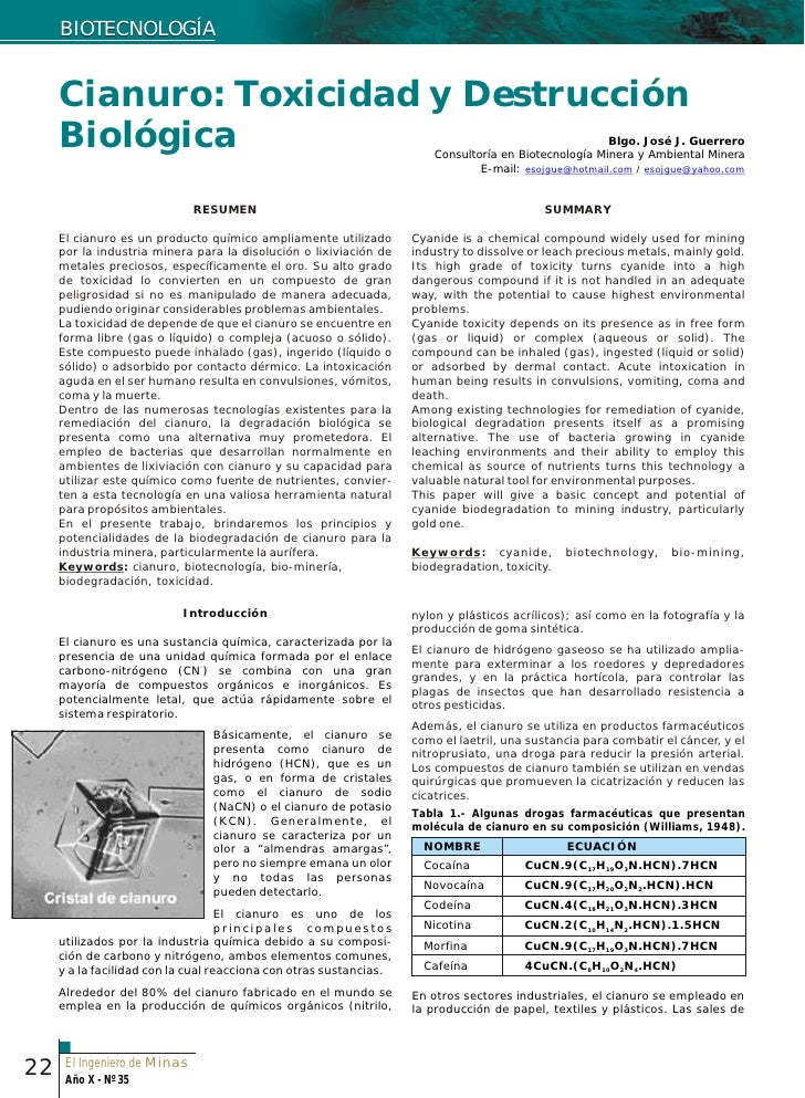 BIOTECNOLOGÍA        Cianuro: Toxicidad y Destrucción      Biológica                                                      ...
