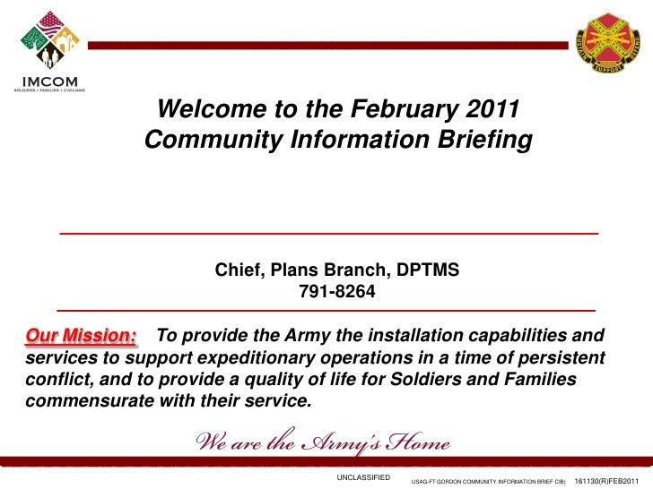 Welcome to the February 2011             Community Information Briefing                      Chief, Plans Branch, DPTMS   ...