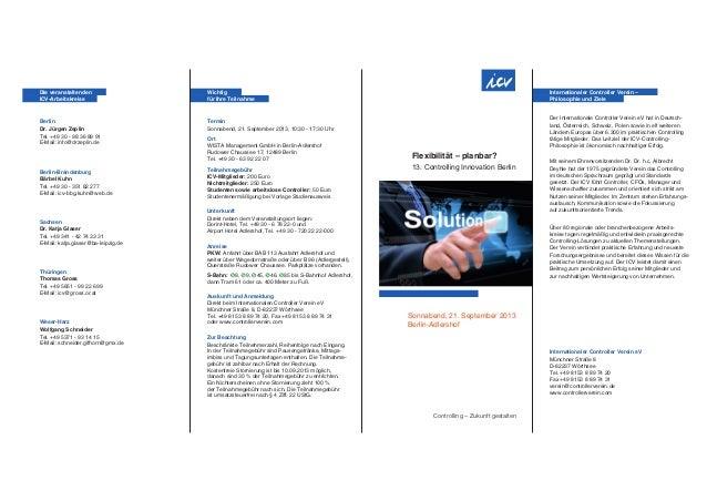 Flexibilität – planbar? 13. Controlling Innovation Berlin Controlling – Zukunft gestalten Sonnabend, 21. September 2013 Be...