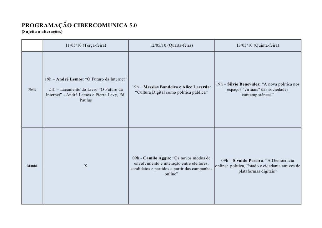 PROGRAMAÇÃO CIBERCOMUNICA 5.0 (Sujeita a alterações)                            11/05/10 (Terça-feira)                    ...