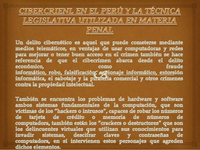 Cibercrimen en el perú y la técnica legislativa