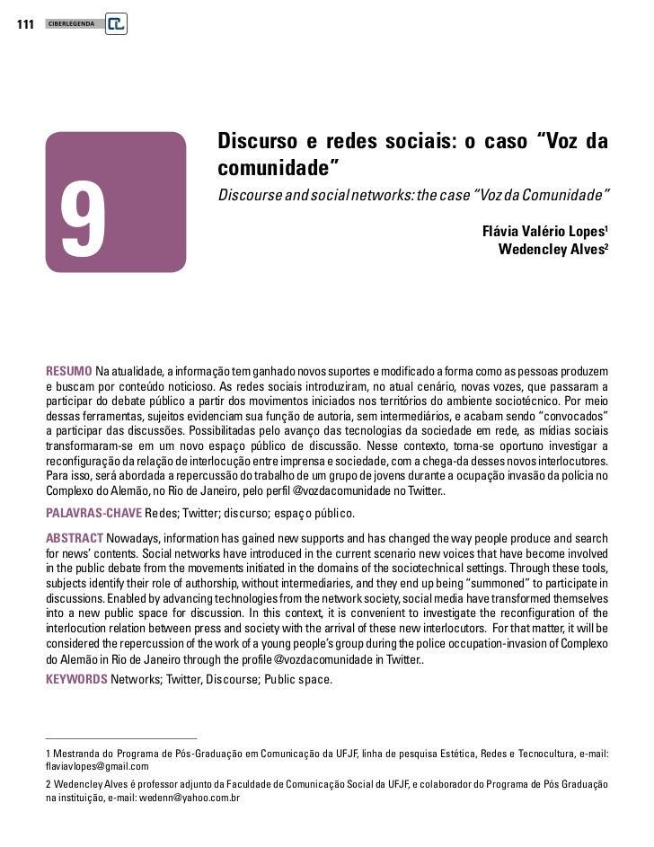 """111                                           Discurso e redes sociais: o caso """"Voz da         9                          ..."""