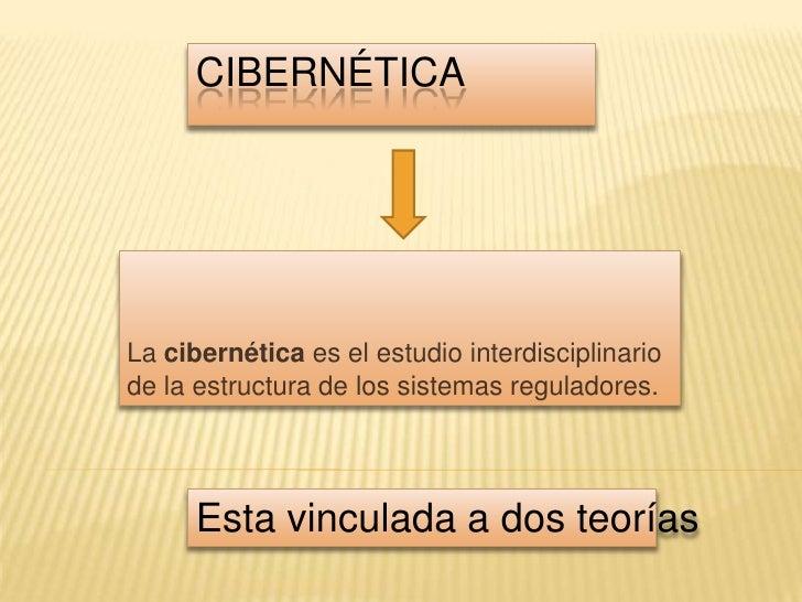 cibernética<br />La cibernética es el estudio interdisciplinario de la estructura de los sistemas reguladores.<br />Esta v...