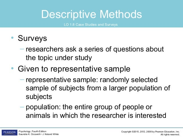 descriptive research methodology Descriptive research is a study designed to depict the participants in an accurate way the three main ways to collect this information are: observational, defined as a method of viewing and recording the participants case study, defined as an in-depth study of an individual or group of individuals.