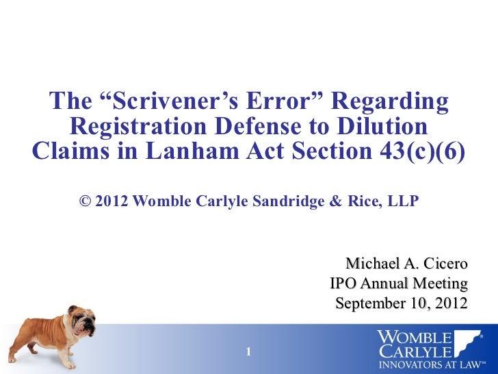 Scrivener's Error Regarding Lanham Act Section 43(c)(6)