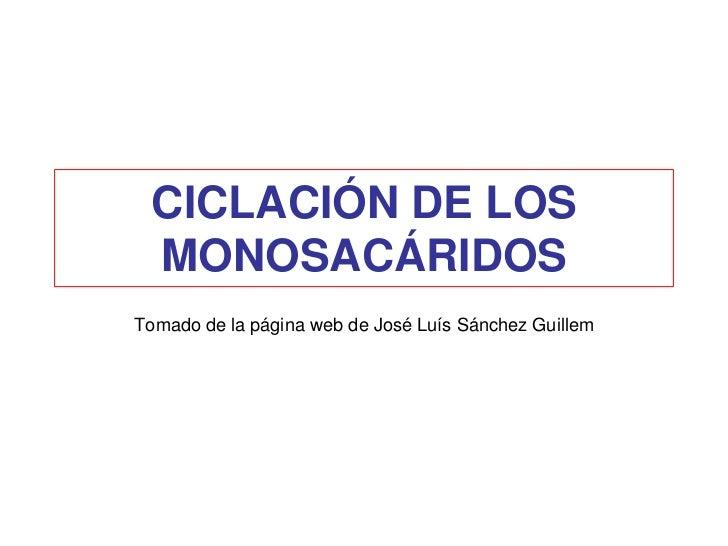 CICLACIÓN DE LOS MONOSACÁRIDOSTomado de la página web de José Luís Sánchez Guillem