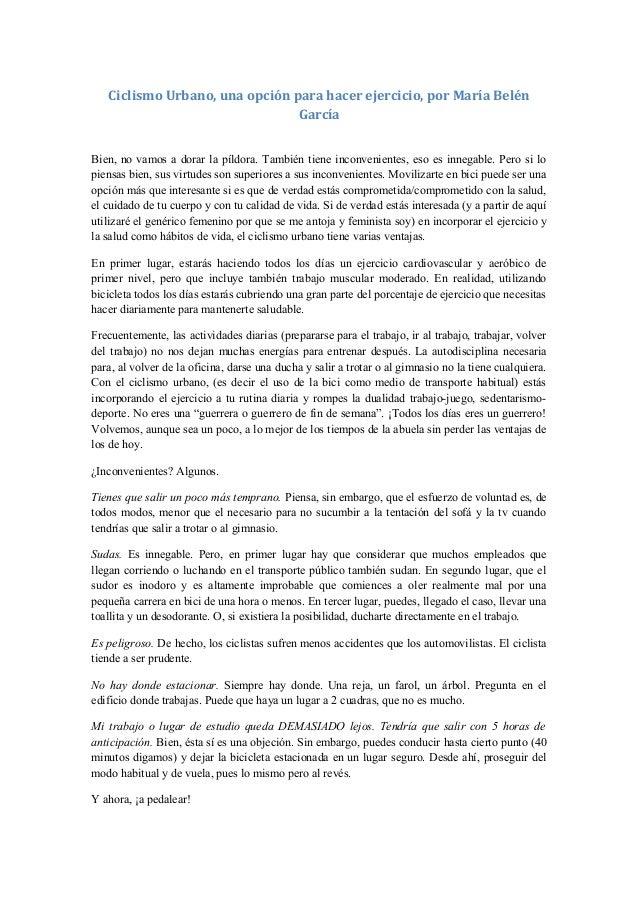 Ciclismo Urbano, una opción para hacer ejercicio, por María Belén                                GarcíaBien, no vamos a do...