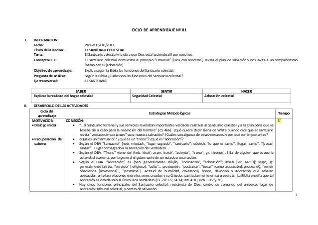 1 CICLO DE APRENDIZAJE Nº 01 I. INFORMACION: Fecha: Para el 05/10/2013 Título de la lección: EL SANTUARIO CELESTIAL Tema: ...