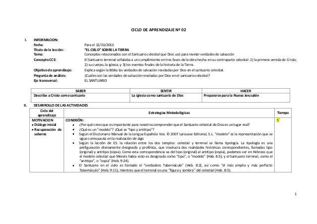 """1 CICLO DE APRENDIZAJE Nº 02 I. INFORMACION: Fecha: Para el 12/10/2013 Título de la lección: """"EL CIELO"""" SOBRE LA TIERRA Te..."""