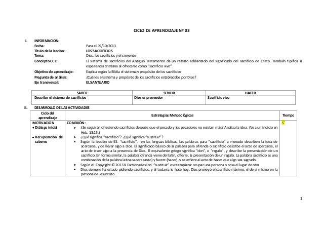 1 CICLO DE APRENDIZAJE Nº 03 I. INFORMACION: Fecha: Para el 19/10/2013 Título de la lección: LOS SACRIFICIOS Tema: Dios, l...