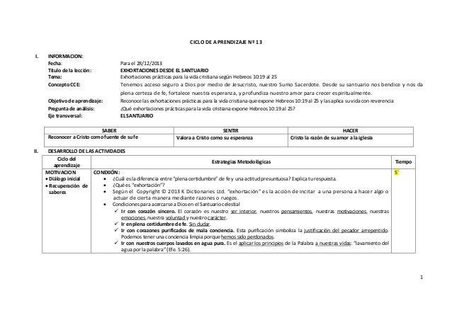 CICLO DE APRENDIZAJE Nº 13 I.  INFORMACION: Fecha: Título de la lección: Tema: Concepto CCE:  Para el 28/12/2013 EXHORTACI...