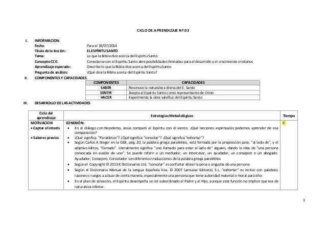 1 CICLO DE APRENDIZAJE Nº 03 I. INFORMACION: Fecha: Para el 19/07/2014 Título de la lección: EL ESPÍRITU SANTO Tema: Lo qu...