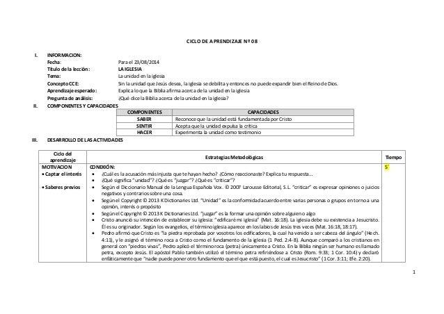 1 CICLO DE APRENDIZAJE Nº 08 I. INFORMACION: Fecha: Para el 23/08/2014 Título de la lección: LA IGLESIA Tema: La unidad en...