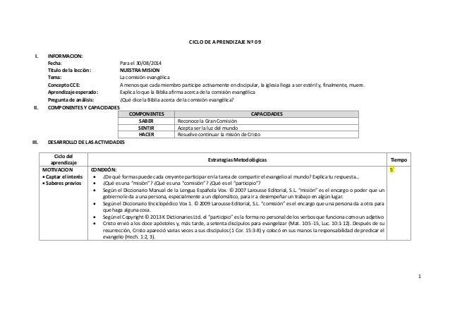 1 CICLO DE APRENDIZAJE Nº 09 I. INFORMACION: Fecha: Para el 30/08/2014 Título de la lección: NUESTRA MISION Tema: La comis...