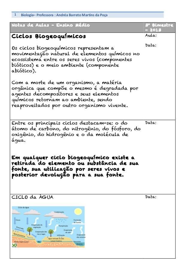 1   Biologia–  Professora  :  Andréa  Barreto  Martins  da  Poça        Notas de Aulas – Ensino Médi...