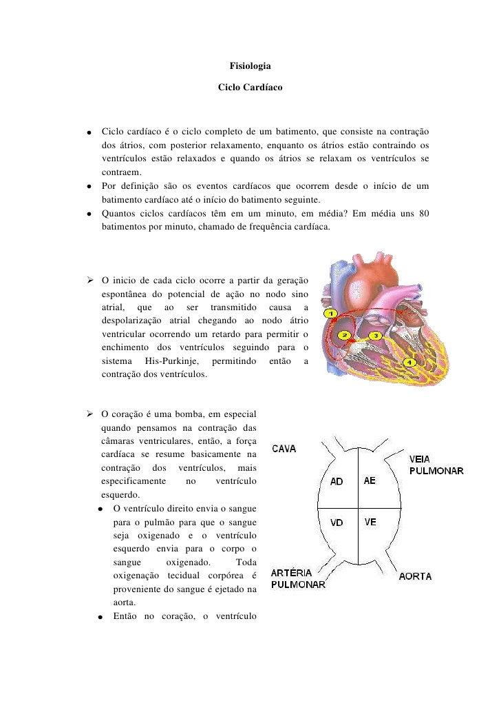 Fisiologia                              Ciclo Cardíaco   Ciclo cardíaco é o ciclo completo de um batimento, que consiste n...