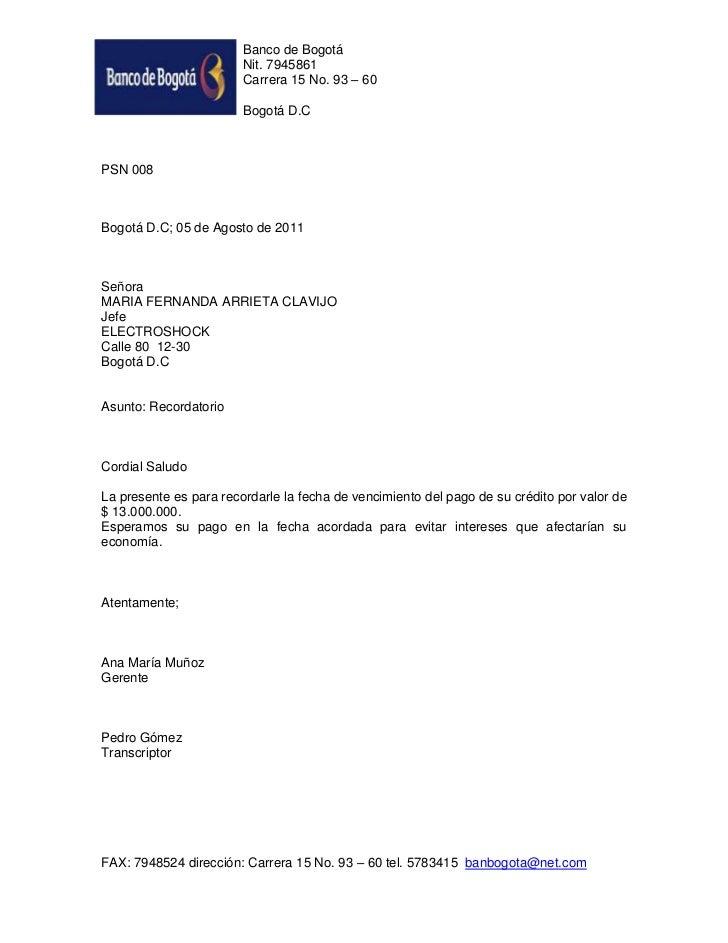 Banco de Bogotá                        Nit. 7945861                        Carrera 15 No. 93 – 60                        B...