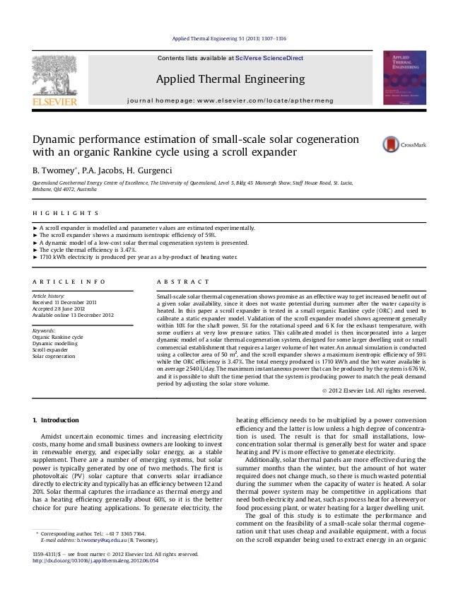 Dynamic performance estimation of small-scale solar cogenerationwith an organic Rankine cycle using a scroll expanderB. Tw...