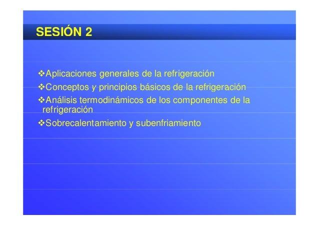 SESIÓN 2 Aplicaciones generales de la refrigeración Conceptos y principios básicos de la refrigeraciónConceptos y princ...