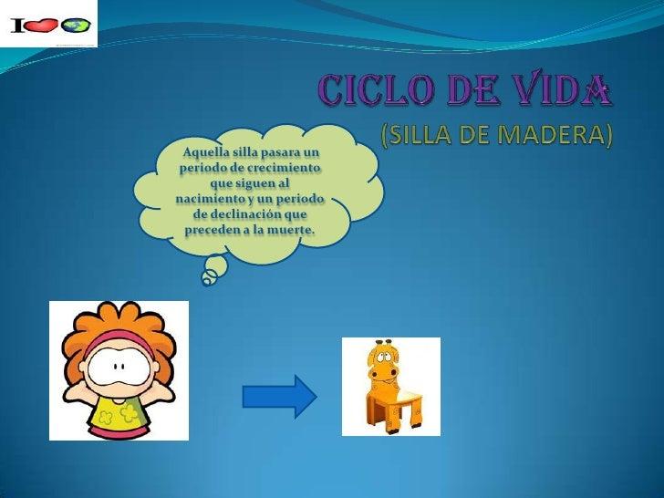 CICLO DE VIDA(SILLA DE MADERA)<br /> Aquella silla pasaraun periodo de crecimiento que siguen al nacimiento y un periodo d...