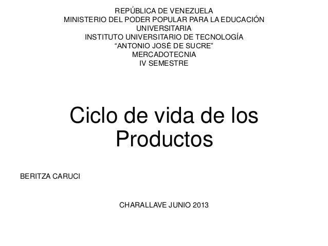 """REPÚBLICA DE VENEZUELAMINISTERIO DEL PODER POPULAR PARA LA EDUCACIÓNUNIVERSITARIAINSTITUTO UNIVERSITARIO DE TECNOLOGÍA""""ANT..."""