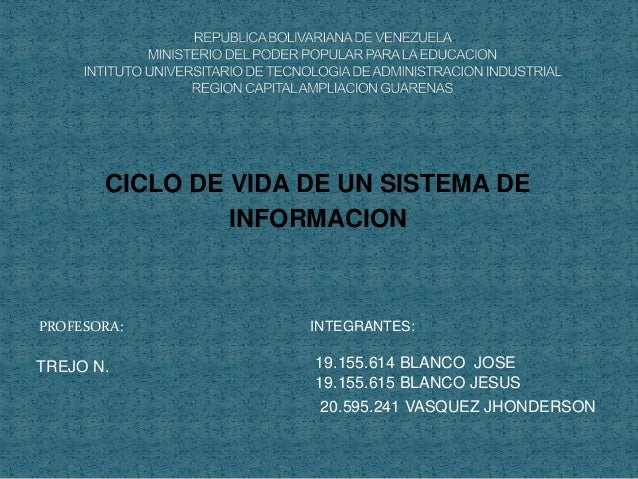 PROFESORA: INTEGRANTES: CICLO DE VIDA DE UN SISTEMA DE INFORMACION 19.155.614 BLANCO JOSE 19.155.615 BLANCO JESUS 20.595.2...