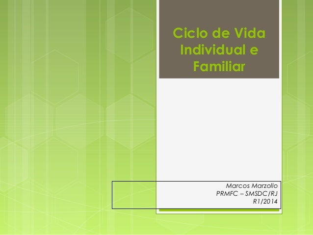 Ciclo de Vida  Individual e  Familiar  Marcos Marzollo  PRMFC – SMSDC/RJ  R1/2014