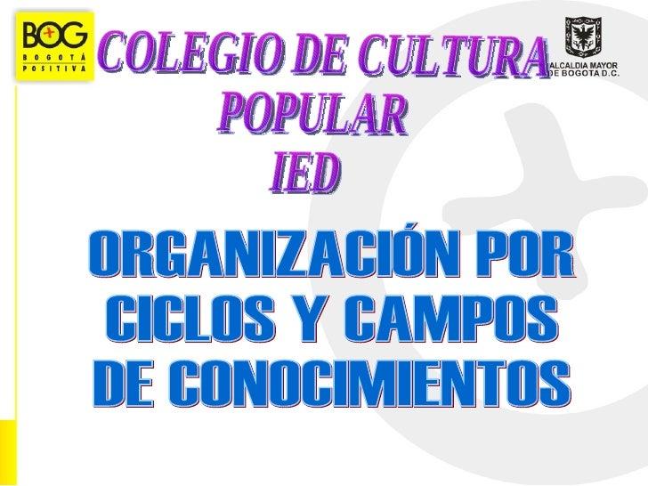 COLEGIO DE CULTURA POPULAR  IED ORGANIZACIÓN POR  CICLOS Y CAMPOS  DE CONOCIMIENTOS
