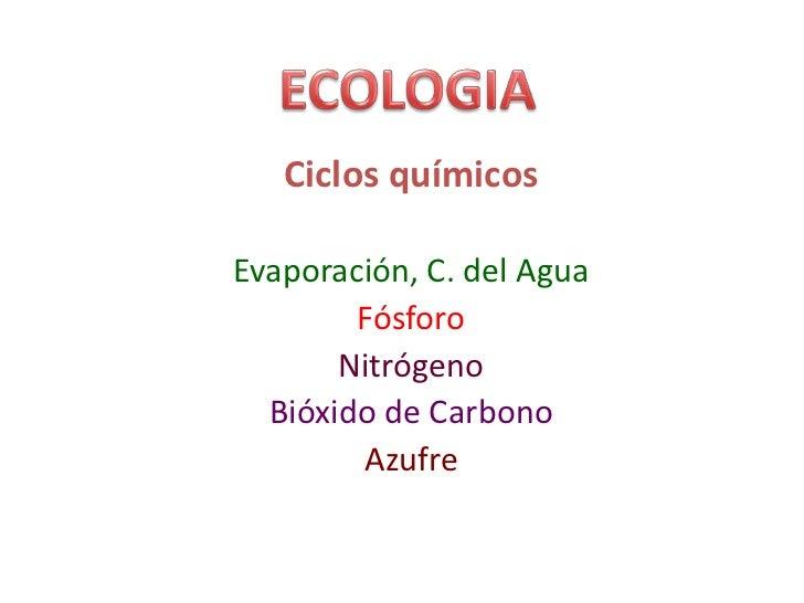 ECOLOGIA<br />Ciclos químicos<br />Evaporación, C. del Agua<br />Fósforo<br />Nitrógeno<br />Bióxido de Carbono<br />Azufr...