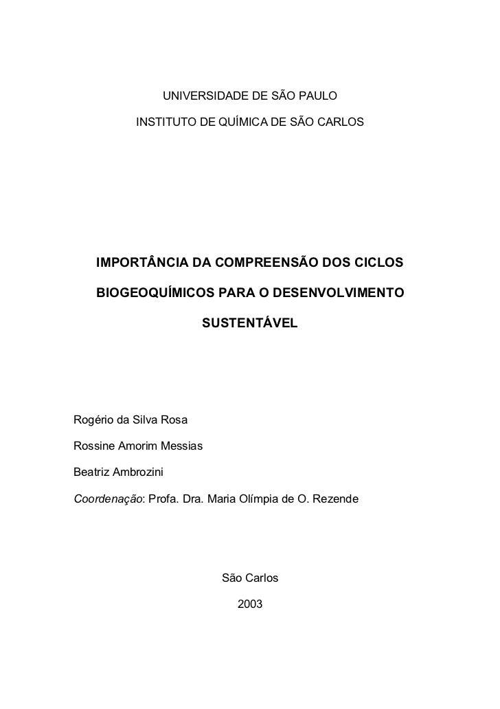 UNIVERSIDADE DE SÃO PAULO           INSTITUTO DE QUÍMICA DE SÃO CARLOS    IMPORTÂNCIA DA COMPREENSÃO DOS CICLOS    BIOGEOQ...