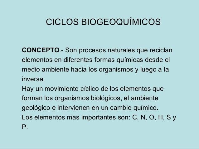 CICLOS BIOGEOQUÍMICOSCONCEPTO.- Son procesos naturales que reciclanelementos en diferentes formas químicas desde elmedio a...