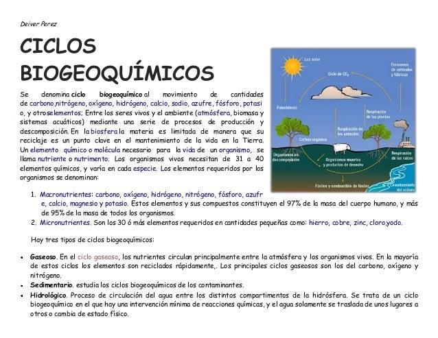 Deiver Perez  CICLOS BIOGEOQUÍMICOS Se denomina ciclo biogeoquímico al movimiento de cantidades de carbono,nitrógeno, oxíg...