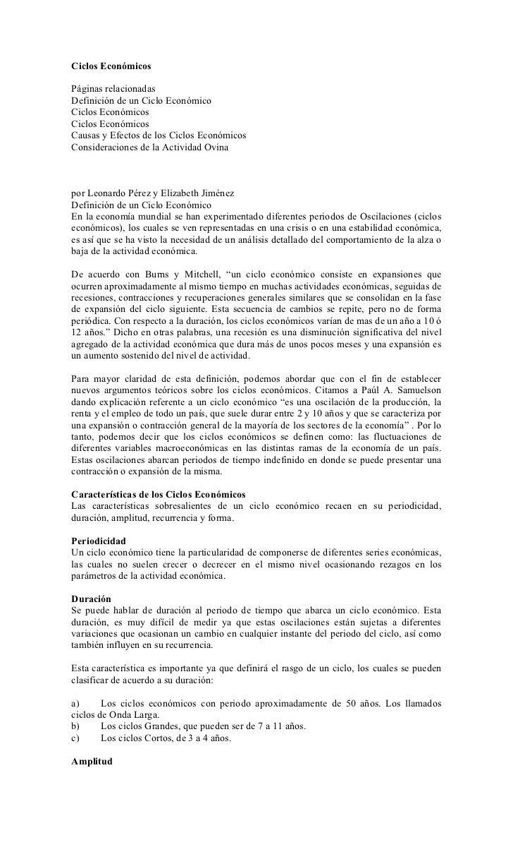 Ciclos EconómicosPáginas relacionadasDefinición de un Ciclo EconómicoCiclos EconómicosCiclos EconómicosCausas y Efectos de...