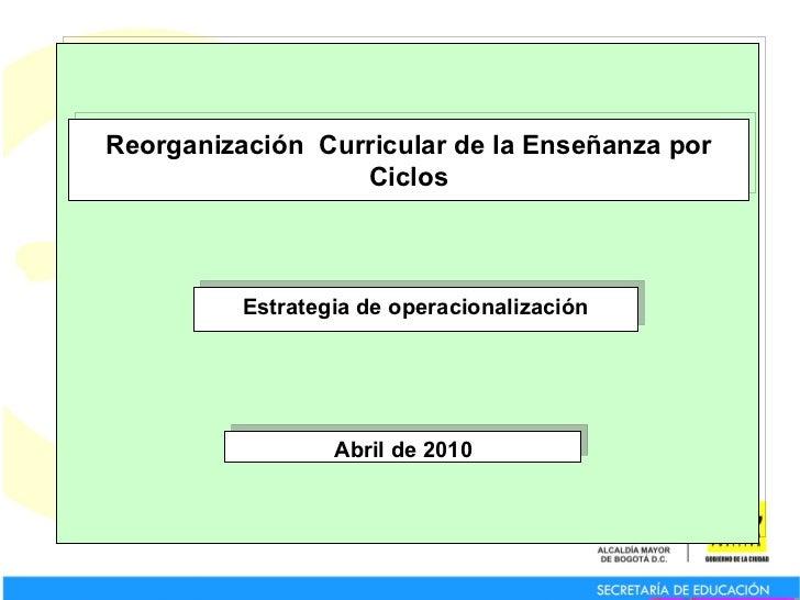 Reorganización  Curricular de la Enseñanza por Ciclos Estrategia de operacionalización Abril de 2010
