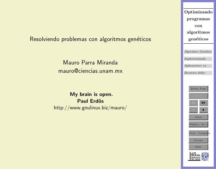 Resolviendo problemas con algoritmos geneticos