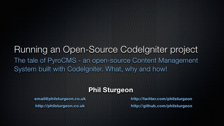 CICON2010: Phil Sturgeon - Running an Open-Source CodeIgniter project